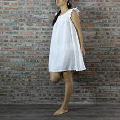 Babydoll Linen Nightwear. The knee-length #sleepwear offers freedom of movement while the gentleness of the soft fabric lulls you into deep sleep.