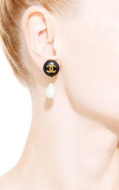 Vintage Chanel Black Pearl Drop Earring From What Goes Around Comes Around by Vintage Chanel for Preorder on Moda Operandi