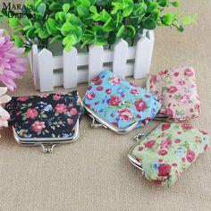 Mara's Dream 2017 Women Canvas Coin Bag Hasp Metal Printed Flowers Mini Coin Bag Purse Women Smart Wallets 4 Color #Affiliate