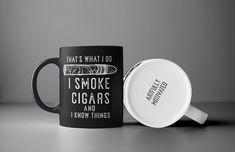 CIGAR SMOKER COFFEE MUG for that cigar lover in your life. 15oz coffee black mug and dishwasher safe Cigar Shops, Cigar Bar, Funny Coffee Mugs, Coffee Humor, Cigar Quotes, Man Cave Art, Cigars And Whiskey, Cigar Smoking, Black Coffee