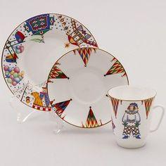 Russian-Imperial-Lomonosov-Porcelain-Tea-Coffee-cup-3pc-set-Petrushka-ballet