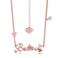 Disney Couture Rose Gold-Plated Tinkerbell Believe Message Necklace