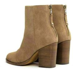 Rag & Bone Ashby Ankle High Stone Suede Block Heel Boot ❤ liked on Polyvore featuring shoes, boots, ankle booties, suede booties, short boots, stacked heel booties, ankle boots and block heel booties
