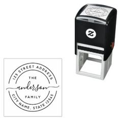 Round Calligraphy Script Family Return Address Self-inking Stamp wedding ideas