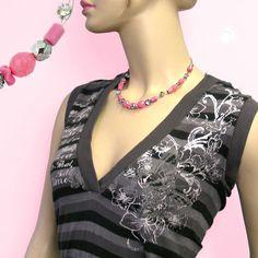 Collier, Glas, rosa, silber-verspiegelt