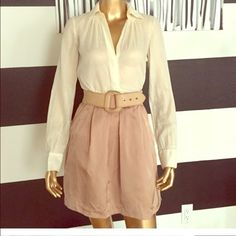 satin work skirt pink with belt attached and zips Chic skirt with attached belt! No tag but size xs 0-2 zips in back ultra chic and stylish! Perfect length for fun or play. Listed as Zara for exposure it's actually Cynthia Vincent a higher end brand. Zara Skirts