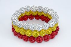 Kansas City Chiefs fans will love wearing these beautiful handmade Shamballa wrap bracelets from MyTeamWraps.  Two for $24.