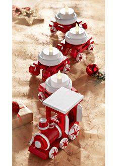 Подсвечник «Рождественский поезд» (5 изд.), bpc living, красный/белый