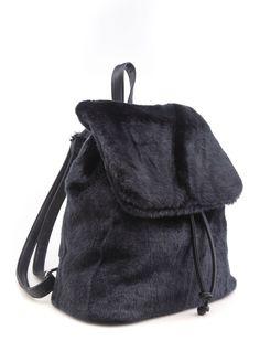SPICE UP YA LIFE BLACK FAUX FUR BACKPACK - Bags - LAMODA