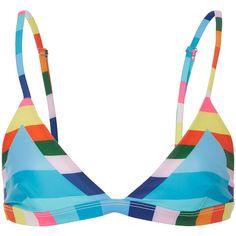 Mara Hoffman     Rainbow Stripe Triangle Bikini Top (188 200 LBP) ❤ liked on Polyvore featuring swimwear, bikinis, bikini tops, stripe, swimsuit tops, swim bikini, high waisted swim wear, tankini swim tops and swimming bikini