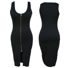 Sleeveless sexy dress with full zipper on the front (Multiple Colors Available)