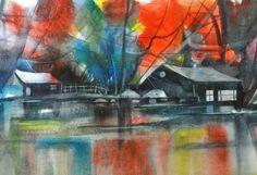Lake Homes Watercolor Print African American Art by SBrownART