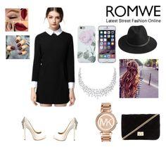 """black collar dress"" by sarahmickie ❤ liked on Polyvore featuring moda, Badgley Mischka, Forever 21, BeckSöndergaard e Michael Kors"