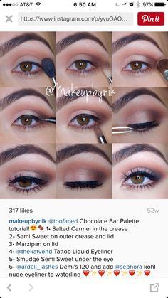 Salted Caramel (crease), Semi Sweet (outer crease, lower lashline & lid), Marzipan (lid)