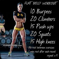 This one is a core burner for sure - working those abs! Crossfit style circut training for at home workouts. No equipment needed for this one.: