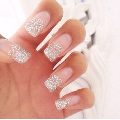 New years nail ideas, glitter nails, new years ideas, beauty tips for new years, sparkle nails Sparkle Nails, Glitter Nail Art, Silver Glitter, Glitter Manicure, Silver Ombre, Silver Nails, Rhinestone Nails, Hot Nails, Hair And Nails