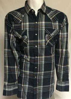 Ely Cattleman Blue Striped XXL Long Sleeve Pearl Snap Front Shirt 2XL #ElyCattleman #Western