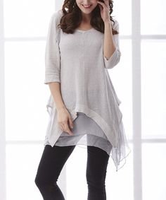 Another great find on #zulily! Simply Couture Gray Linen Sidetail Tunic by Simply Couture #zulilyfinds now $23