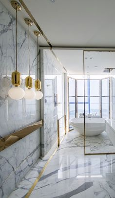 That's more marble in one bathroom than most houses have. But it sure works.