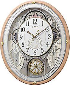 Amazon|リズム時計 電波 からくり 掛け時計 アナログ スモールワールドエアル 30曲 メロディ クリスタル 飾り 木 ピンク (半艶仕上) Small World 4MN525RH13|置き時計・掛け時計 オンライン通販