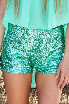 Green sequin shorts