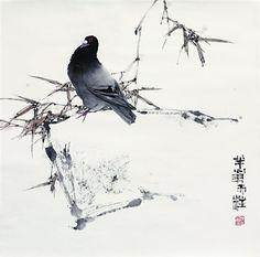 Qin Tianzhu - soyka62 Zen Painting, Japan Painting, Chinese Painting, Japanese Watercolor, Watercolor And Ink, Watercolor Landscape Tutorial, Chinese Contemporary Art, China Art, Korean Art