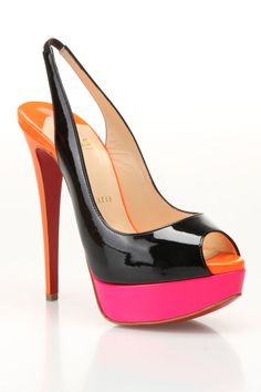 Louboutin Lady Peep Slingback Pumps in Black and Rose Matador - Beyond the Rack