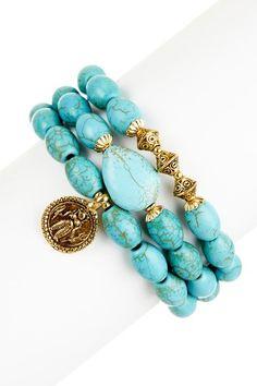 Turquoise Bracelet Set by mariechavez on @HauteLook
