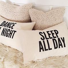 Par de almohadas Sleep all Day & Dance all Night Best Embroidery Machine, Dreams Beds, White Texture, Backrest Pillow, Home Textile, Screen Shot, Aesthetic Pictures, Decorative Throw Pillows, Crochet Projects