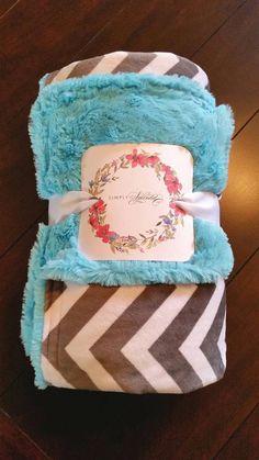 Minky Blanket  Gray/White Chevron Cuddle by SimplySplendidCo