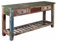 #100 years old reclaimed wood #PureVintage reclaimed wood furniture # 3 Drawers reclaimed wood console table #Indian Handmade reclaimed wood furniture