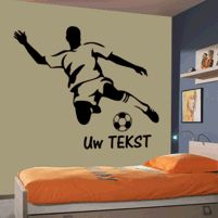Muurstickers - kinderkamer - voetballer met uw tekst | JL-Design MD311TO Kidsroom, Soccer, Silhouette, Design, Home Decor, Quartos, Furniture, Bedroom Kids, Football