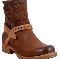A.S.98 Suri Women's Motorcycle Boot F Boot ($300) ❤ liked on Polyvore featuring shoes, boots, cognac, real leather boots, side zip boots, leather boots, motorcycle boots and leather engineer boots