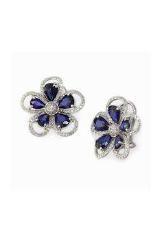 Effy 14K White Gold Blue Sapphire and Diamond Flower Earrings, 7.05 TCW