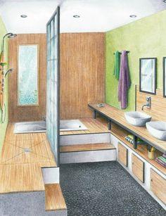 A Zen bathroom of elevated shower Zen Bathroom, Laundry In Bathroom, Modern Bathroom, Small Bathroom, Shower Bathroom, Bad Inspiration, Bathroom Inspiration, Bathroom Design Layout, Bathroom Designs