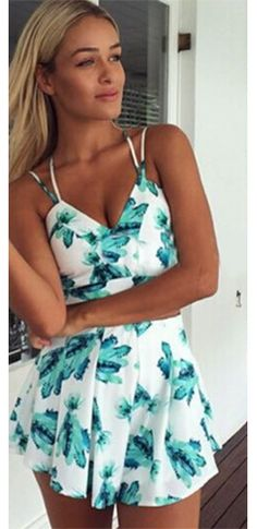 White Mint Green Leaf Spaghetti Strap V Neck Crop Top Pleated Short Two Piece Romper