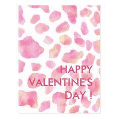 PINK LEOPARD - Happy Valentine's Day Postcard