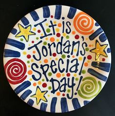 Brightly Colored Personalized 8 Inch Ceramic Special Day Plate or Birthday Plate Pottery Painting Designs, Paint Designs, Painted Plates, Hand Painted, Painted Pottery, Sharpie Designs, Birthday Plate, Good Grades, Special Day