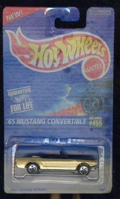 Hot Wheels 1995-455 '65 Mustang Convertable 1965 1:64 Scale by Mattel. $4.50. Excellent Condition. Never Removed From Package. Shipped 1st Class Mail With Delivery Confirmation In a Box.