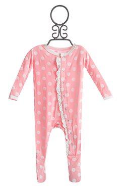 KicKee Pants Baby Girl Footie Pink Polka Dot