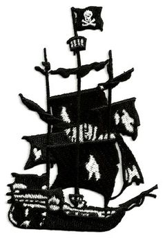 PIRATE/GHOST SHIP EMBROIDERED IRON ON PATCH