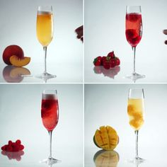 Sorbet Bellinis 4 Ways Non alcoholic version for me Sorbet Bellinis 4 Ways Replace the alcohol with water! Get A Lil Tipsy This Weekend With These Sorbet Bellinis Splenda instead of sugar! Without the alcohol! Maybe some sprite! Snacks Für Party, Party Drinks, Fun Drinks, Alcoholic Drinks, Beverages, Party Party, Cocktails, Cocktail Drinks, Bellini Cocktail