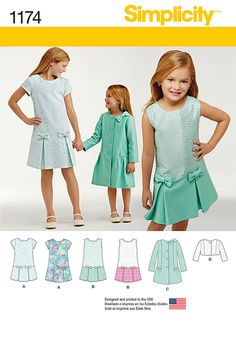 pattern includes dress for child and girl featuring drop waist pleated skirt with bows, jacket, and coat with bow on shoulder and over single pleat on back. simplicity sewing pattern.