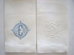 This is a project for a Taigan client.  Both feature ivory belgian linen towels with beautiful monograms designed by my monogram resource.