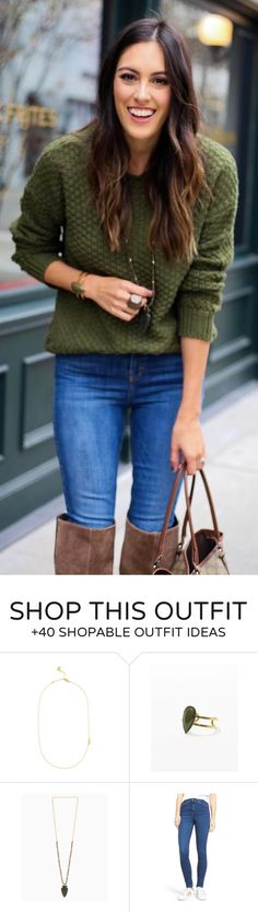 #winter #fashion /  Green Knit / Bleached Skinny Jeans