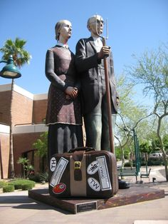 The American Gothic statue by sculptor J. Seward Johnson is on tour, pictured in Mesa, Arizona