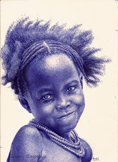 blue-pen-portraits- Artist Enam Bosokah from Ghana, uses a blue ballpoint pen to create impressive portraits and drawings