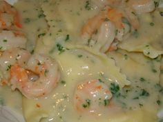 Lobster Ravioli with Shrimp Cream Sauce (marsala cream sauce works just as well)