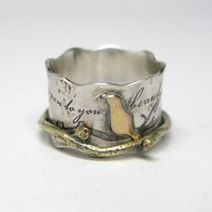 Custom Birds On A Branch Spinner Ring