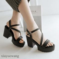 Womens Pu Leather Platform Peep Toe Ankle Strap Slingback Roman Shoes Plus Size